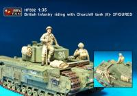 1:35 British Infantry Riding with Churchill Tank (II) - 2 Figures